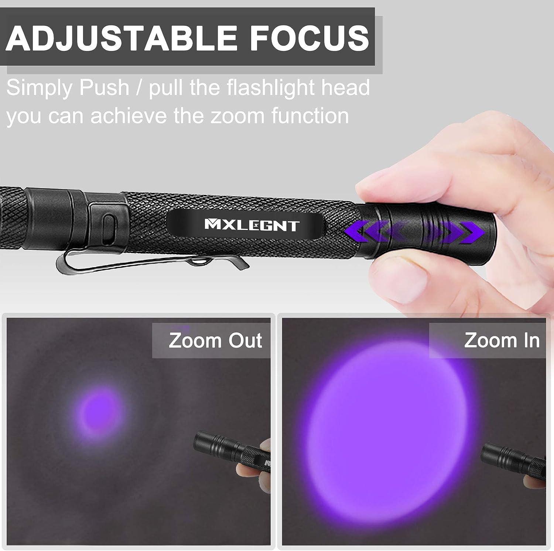 MXLEGNT UV-Taschenlampe 2er Pack Schwarzlicht Ultravioletten Zoombare Licht Lampe Detektor f/ür Haustier Urin und Bettwanzen Angetrieben durch AAA-Batterien 2er-Pack, Ohne Batterie