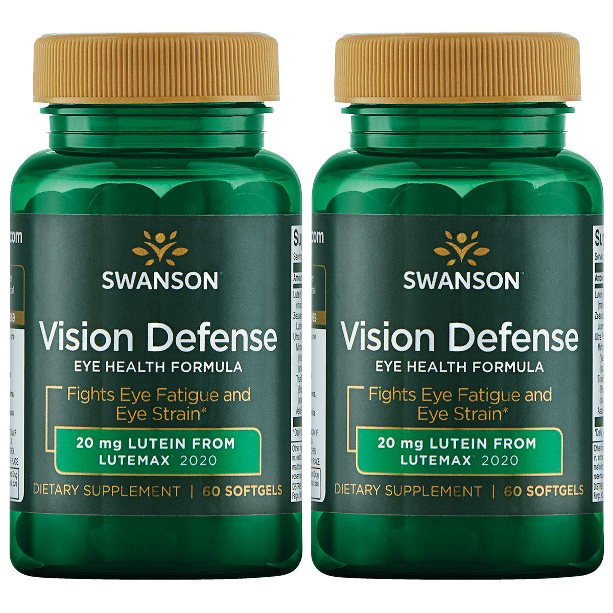 Swanson Vision Defense Antioxidant Vision Health Supplement Eye Fatigue Eye Strain Blue Light Defense Lutein Zeaxanthin Astaxanthin Broccoli Extract Bilberry Extract 60 Softgels Sgels (2 Pack)