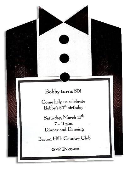 Amazon Com Tuxedo Invitation Pack Of 20 Includes Envelope And