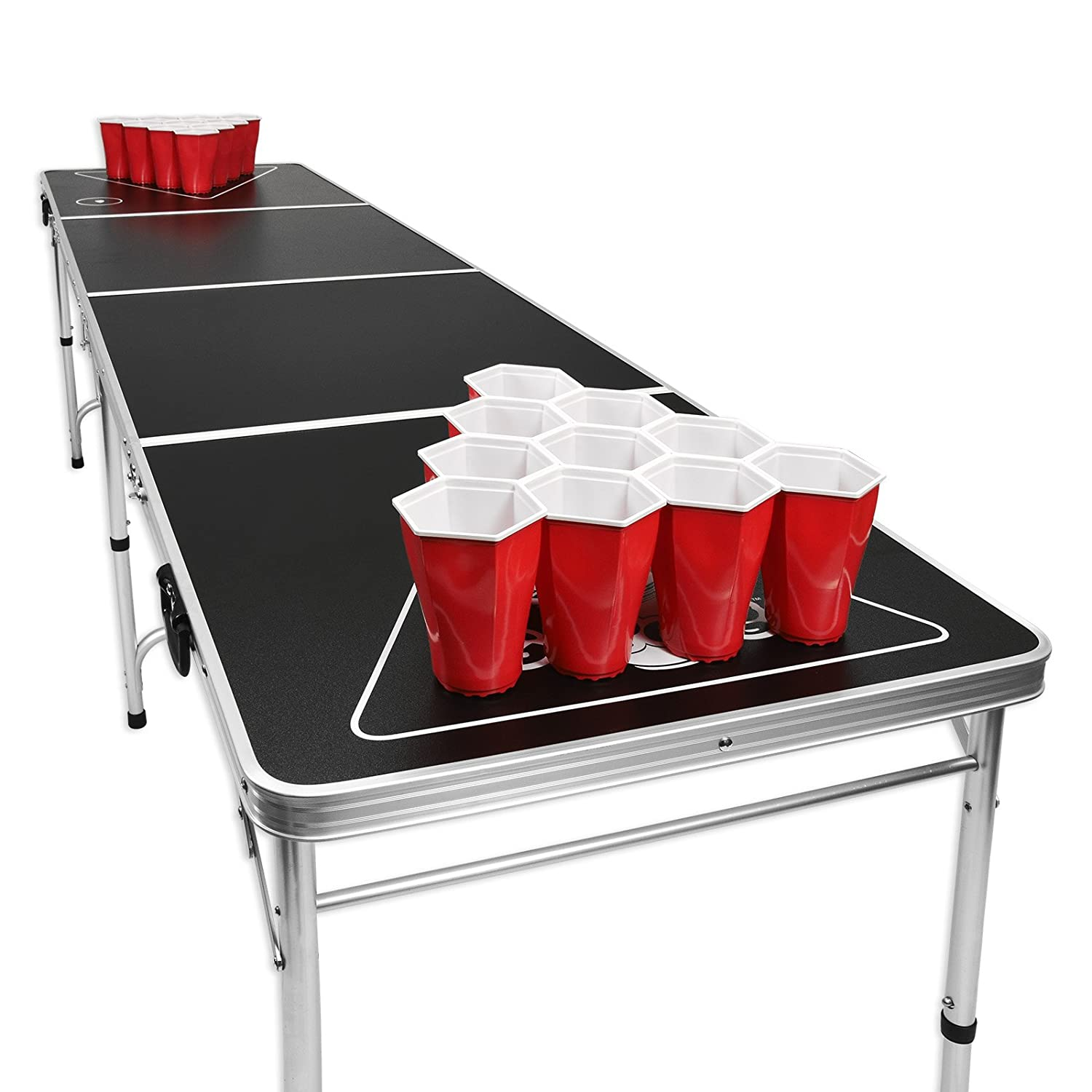 Beer pong table dimensions - Amazon Com Gopong 8 Foot Portable Folding Beer Pong Flip Cup Table 6 Balls Included Pong Games Sports Outdoors