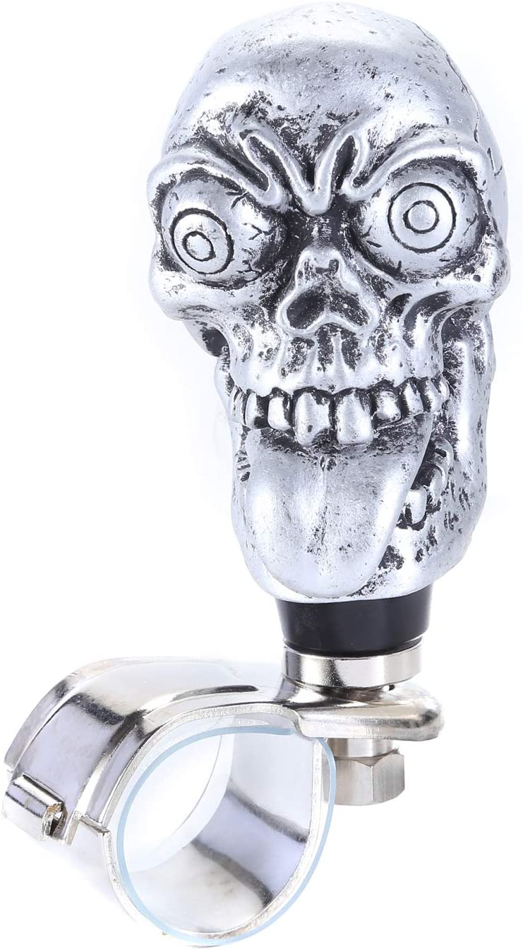 Silver Bashineng Suicide Spinner Big Tongue Skull Style Power Handle Control Steering Wheel Knob Fit Most Car