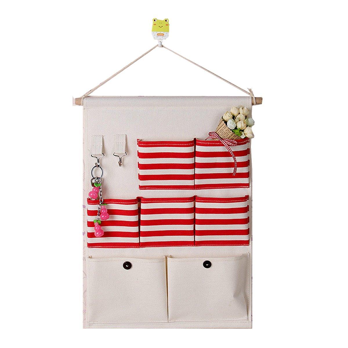 Hanging Organizer, Makone 7 Pockets Cotton Fabric Storage Bag Wall Door Closet Home Organizer (Red Strip)