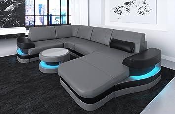 Sofa Dreams Leder Wohnlandschaft Modena U Form Grau Schwarz Amazon