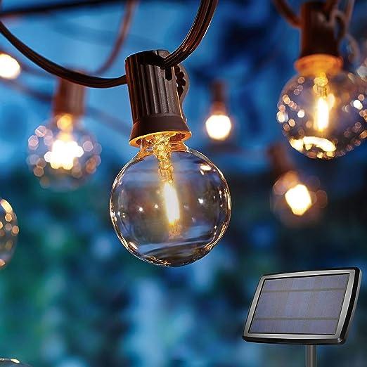 Guirnaldas luminosas Solar de Exterior,OxyLED G40 10.35M 30 2 Bombillas,E12 Base,4 Modos Luz,IP65 Impermeable,Luces Decorativas Ideal para Jardín, Terraza, Patio, Exterior, Navidad: Amazon.es: Iluminación