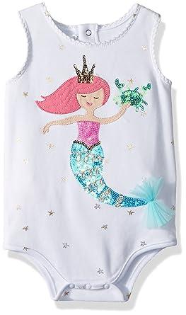 24a49565a5b9e Mud Pie Baby Girls Mermaid Ruffle Bottom One Piece Crawler, White, 0-6