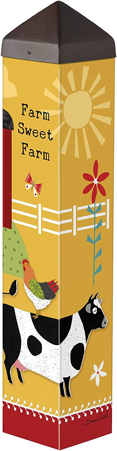 Studio M Farm Charm Animals Art Pole Outdoor Decorative Garden Post, Made in USA, 20 Inches Tall