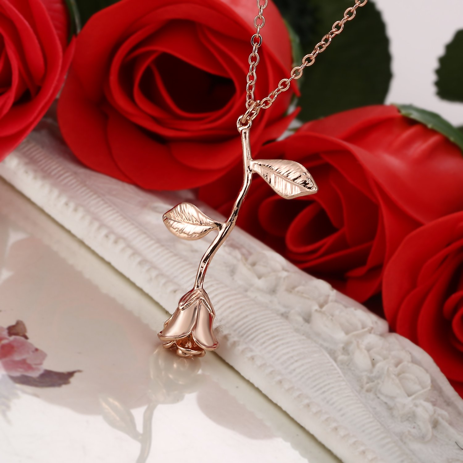 Vintage rose flower pendant necklace lovers birthday friendship details vintage rose flower pendant necklace lovers birthday izmirmasajfo
