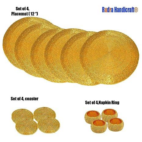 Paquete hecho a mano de 4, manteles individuales redondos dorados para mesa de comedor /