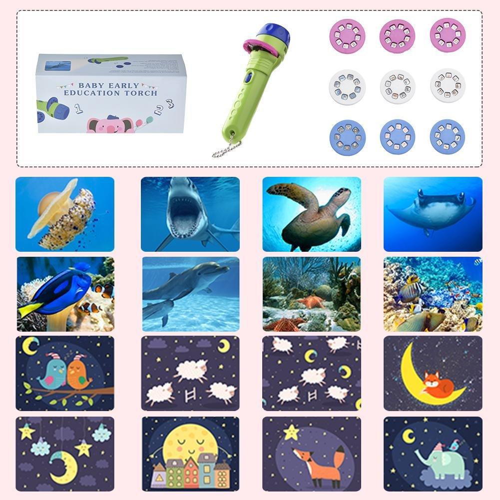 Linterna para Ni/ños Libro De Cuentos Antorcha Animaci/ón HD Dibujos Animados Juguete Educativo Temprano Proyector Manual M/áquina De Aprendizaje G-wukeer Linterna Proyector Educativo Temprano
