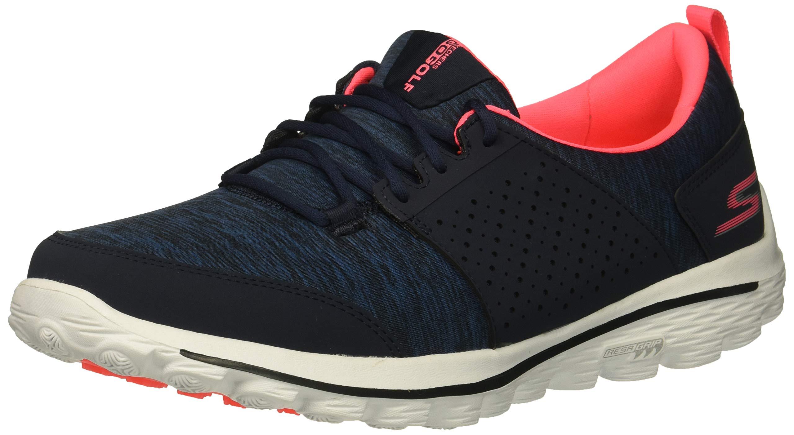 Skechers Women's Go Walk 2 Sugar Relaxed Fit Golf Shoe, Navy/Pink, 9 M US by Skechers