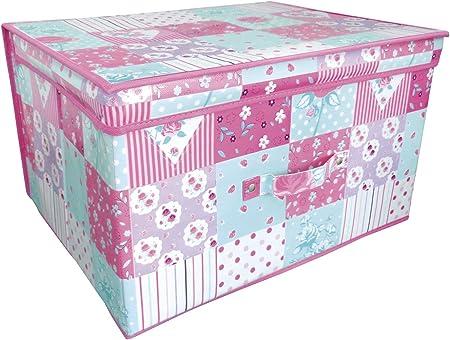 Beamfeature Plegable Rosa y Verde Azulado Patchwork Habitación Infantil Organizador Juguete Caja de Almacenamiento con Tapa: Amazon.es: Hogar