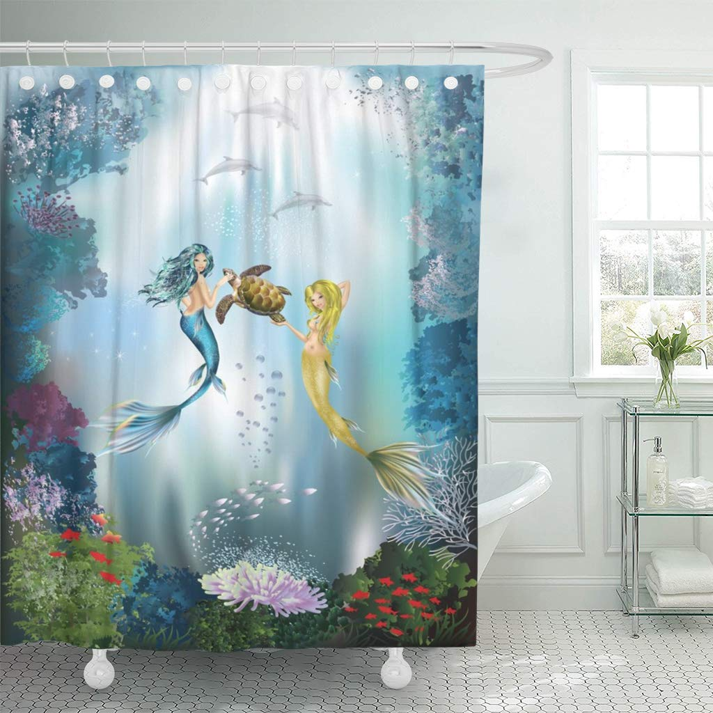 Emvency Waterproof Shower Curtain Curtains Fabric With Hooks Blue Bottom The Underwater World Of Mermaids And Dolphins Green Ocean 72x72 Decorative