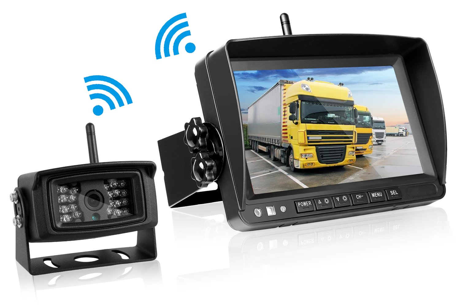 Emmako Digital Wireless Built-in Backup Camera and 7 Display Monitor Reverse Camera System Kit Working Over 300 ft Stable Signal Grid Lines Optional Waterproof Night Vision for Trailer/RV/5th Wheel