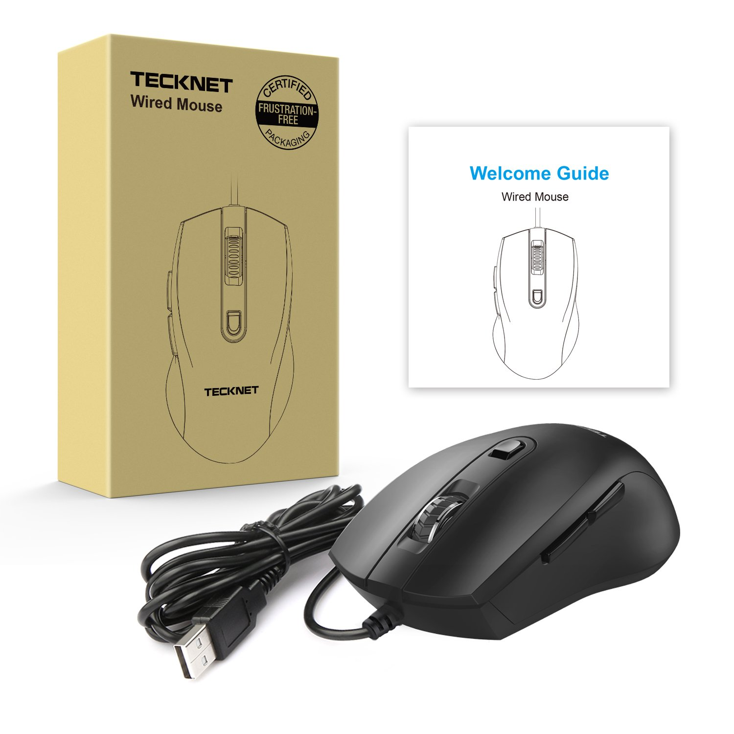 TeckNet 6-Button Ergonomic USB Wired Optical Mouse for PC, Laptop and Computer, 1600/1000 DPI