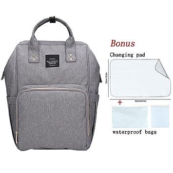 Bebé Bolsa de Pañales mochila, multifunción gran capacidad resistente al agua viajes bolsas de pañales