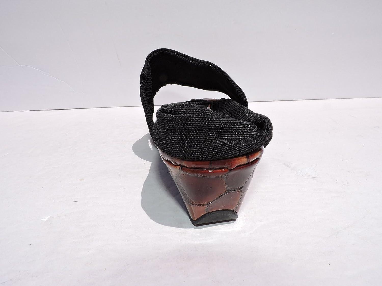 Donald J Pliner Womens Dasan Black//Tortoise Wedge Mesh Sandals Split Toe Size 8.5 M