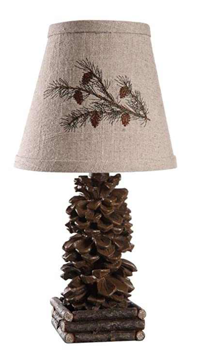 Diva At Home Set Of 2 Rustic Lodge Pinecone Accent Lamps With Embroidered  Pine Branch Shades