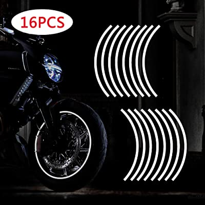 "TOMALL 17""-19"" Reflective Wheel Rim Stripe Decal for Motorcycle Wheels Car Cycling Bike Bicycle Night Reflective Safety Decoration Stripe Universal Rim Reflective Stickers (White): Automotive"