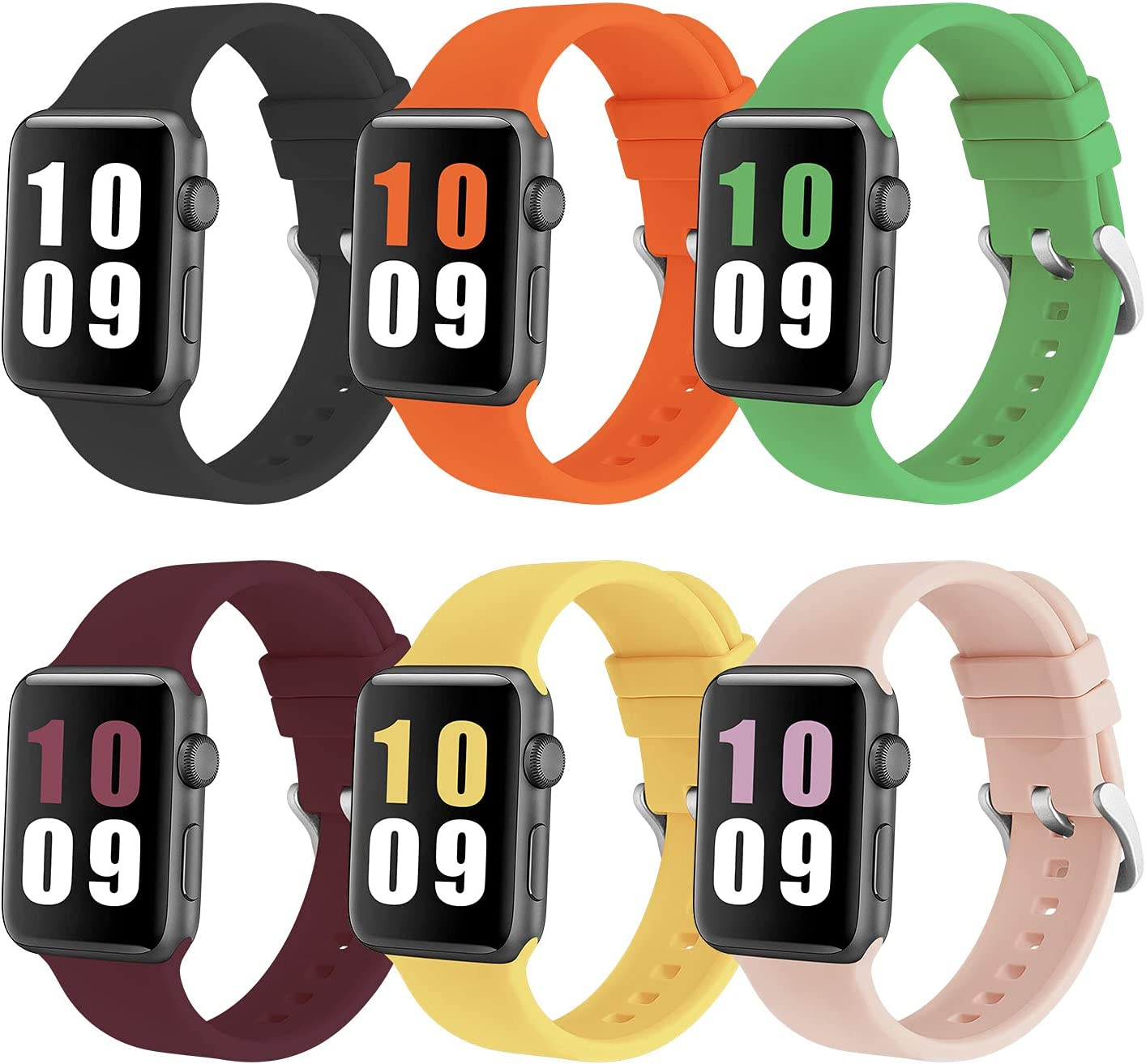 PROSRAT 6-Pack Sport Straps Compatible With Apple Watch Bands 38mm 40mm 42mm 44mm,Soft Silicone Replacement Bands for iWatch Series 6/SE/5/4/3/2/1 for Women Men (Black/Orange/Mint Green/Wine Red/Pink Sand/Yellow, 38mm/40mm)