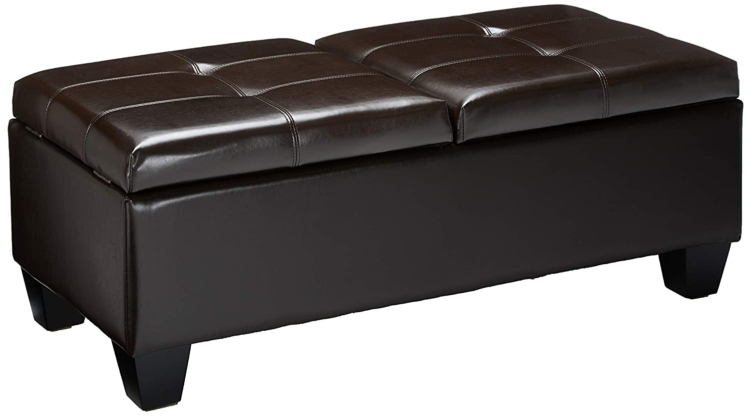 Christopher Knight Home 238354 Murray Double Opening Leather Storage Ottoman, Brown