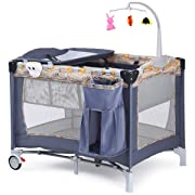 Costzon Baby Playard, Reversible Napper and Changer,Travel Infant Bassinet Bed with Music (Gray)
