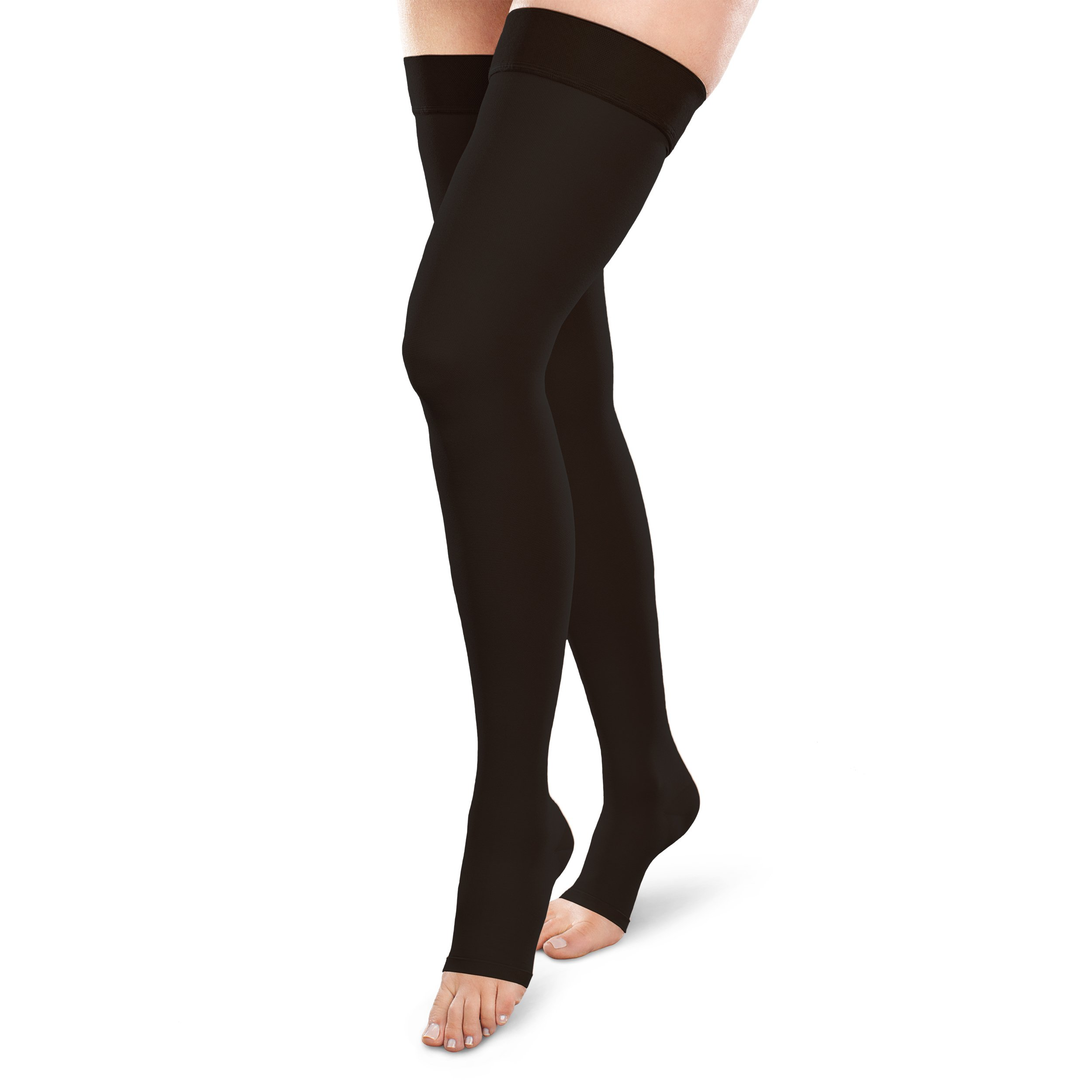 Therafirm Opaque Open-Toe Thigh Highs - 30-40mmHg Firm Compression Stockings (Black, Small Long)