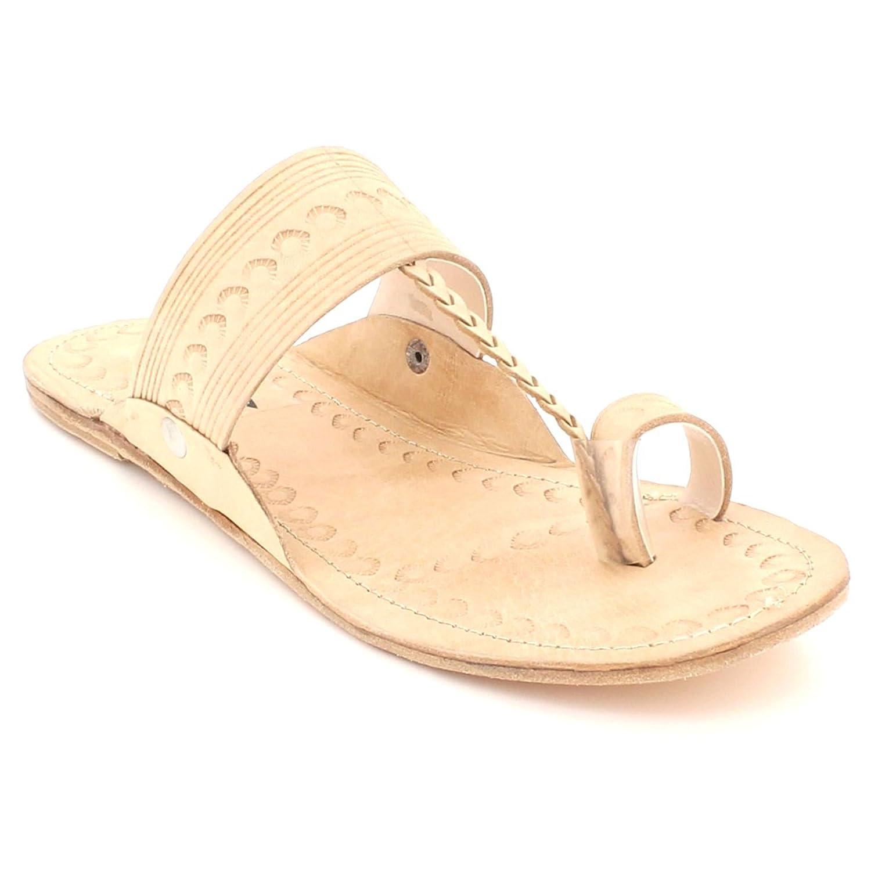 AARZ LONDON Frau Damen Authentisch Kolhapuri Chappal Offener Zeh Beiläufig Komfort Schlüpfen Flache Sandalen Schuhe Größe Nackt