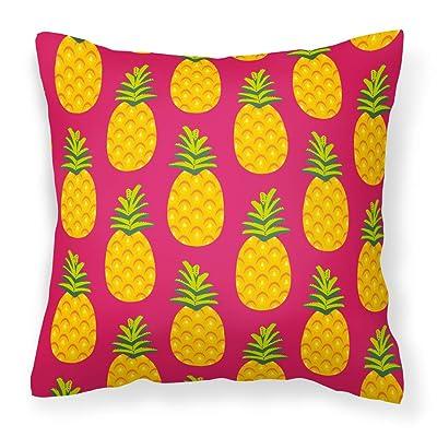 Caroline's Treasures BB5136PW1414 Pineapples on Pink Fabric Decorative Pillow, 14Hx14W, Multicolor : Garden & Outdoor