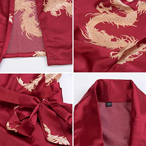 Meaningg Hombres Chino dragón Batas de Dormir hogar Sedoso Largo ...