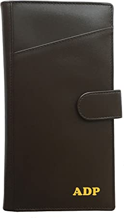 Personalized Deluxe Leather Trifold Brown Wallet Monogrammed Free