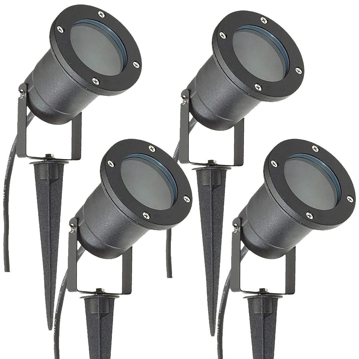 4 x MR16 12V Outdoor Garden Spike Ground Mount or Watt Light IP65 Matt Black Low Voltage Long Life Lamp Company