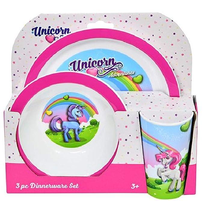 Unicorn Melamine Dinnerware Set 3 Pieces 27 x 24 cm