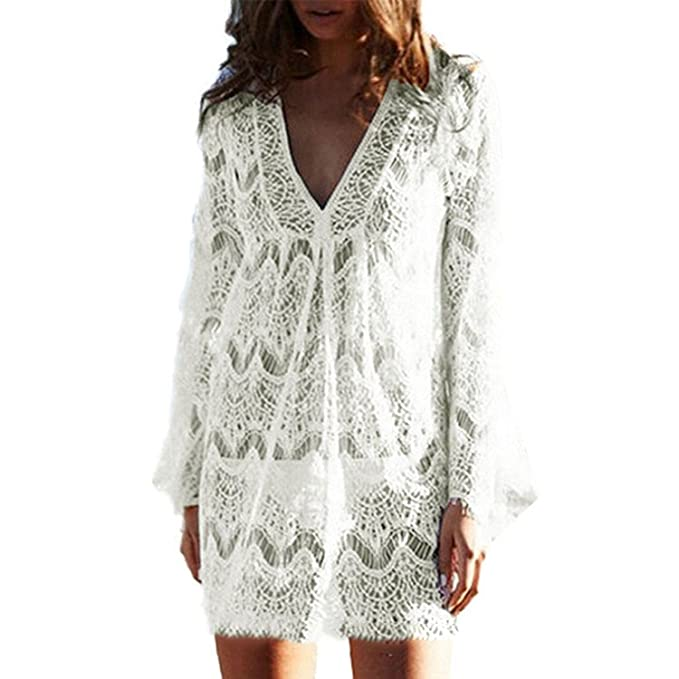 7728e367b01 Garsumiss Women Cover Ups Swimwear Ladies Plus Size Swimsuits Lace Crochet  Tunic Bikini Beach Dresses White