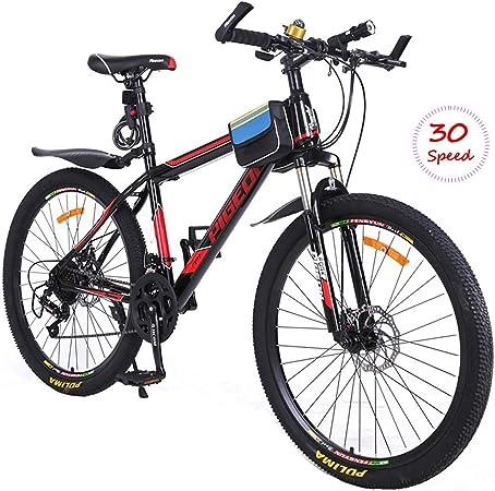 PXQ Adultos Doble Frenos de Disco Bicicleta de montaña 26 Pulgadas de Alto Marco de Carbono 30 velocidades Bicicleta de cercanías Bicicleta con Amortiguador Delantero Tenedor,Black,26Inch: Amazon.es: Hogar