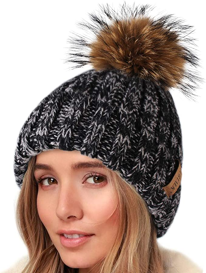 Unisex.Great Valentines day Gift. Beige Angora Wool Beanie Hat with Removable Large Real Genuine Fox Raccoon fur Pom pom Mens  Beanie