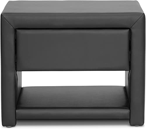 Baxton Studio Massey Upholstered Modern Nightstand, Black