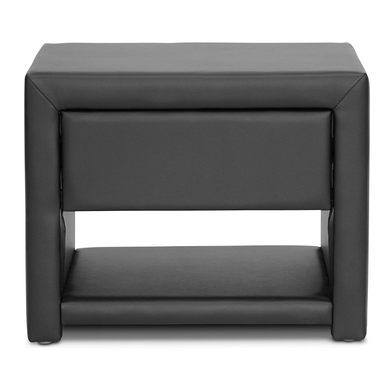 amazoncom baxton studio massey upholstered modern nightstand  - amazoncom baxton studio massey upholstered modern nightstand blackkitchen  dining
