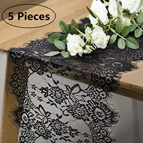 low priced 100% quality beauty Lace Runners for Tables Lace Table Runner Small Pack of 5 Black Lace Table  Runners for Weddings 12x120 inch for Wedding Banquet Decor