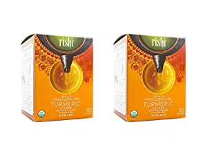 Rishi Tea Turmeric Ginger Tea, Organic Caffeine-Free Herbal Tea Sachet Bags, 15 Count (Pack of 2)