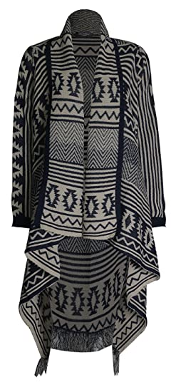 Pink Wind Womens Irregular Draped Open Front Knitted Cardigan