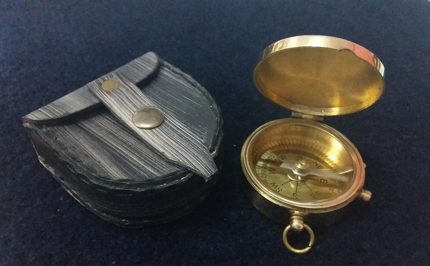 NauticalMart Brass Compass with Leather Case NAUTICALMART INC