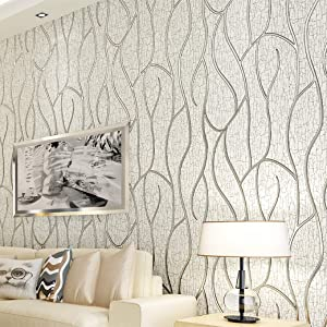 Blooming Wall Extra-Thick Modern Non-Woven Leaf Flows Pattern Wallpaper Wall Paper Roll for Livingroom Bedroom, 39063 (68805)