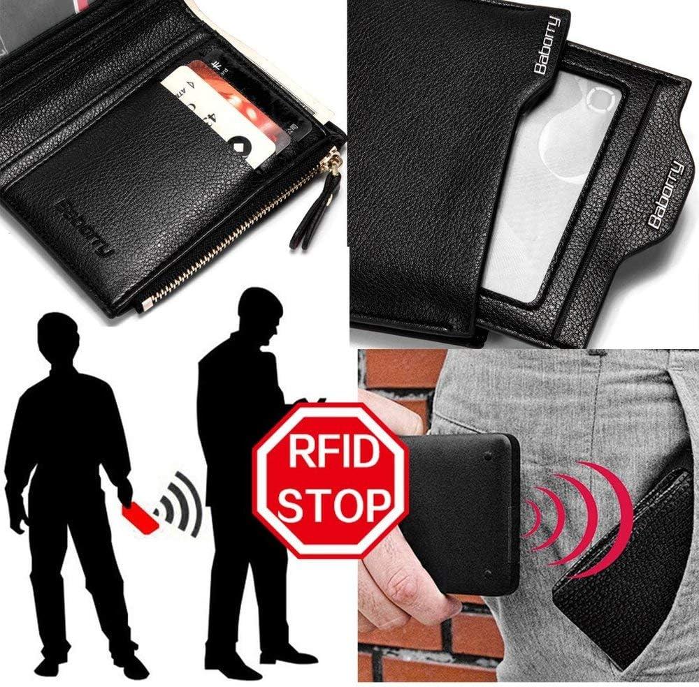 Antimagnetic Men Wallet Anti RFID Male Zipper Purse Short PU Leather Wallet Black