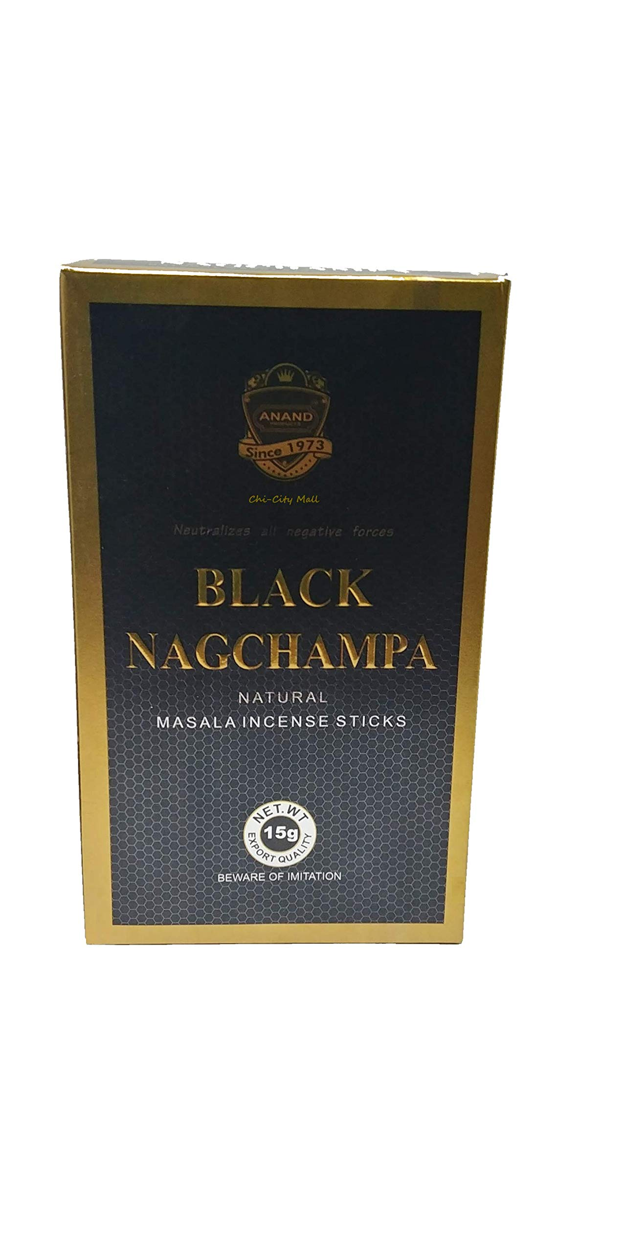 Anand Agarbathi Black Nag Champa Natural Masala Incense Sticks Wholesale Pack |12 Boxes x 15 Grams = 180g | Nagchampa Negro | Exclusively Made in India | Export Quality | Beware Imitation | by Anand Agarbathi