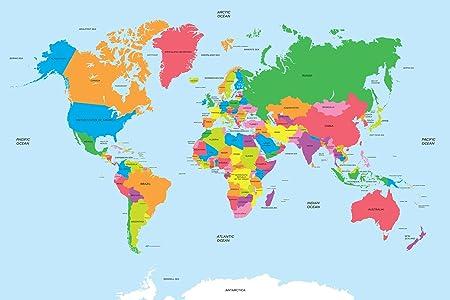 World map mural 24 h x 36 w fabric amazon kitchen home world map mural 24quot h x 36quot w fabric gumiabroncs Gallery