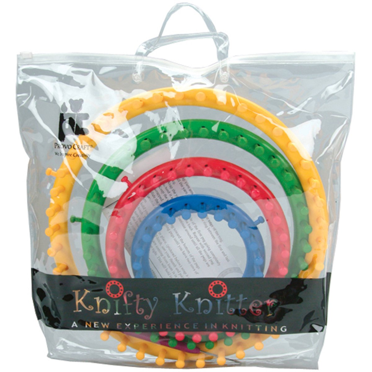 Genuine Knifty Knitter Round Loom Set with 4 Looms Hook /& Bag