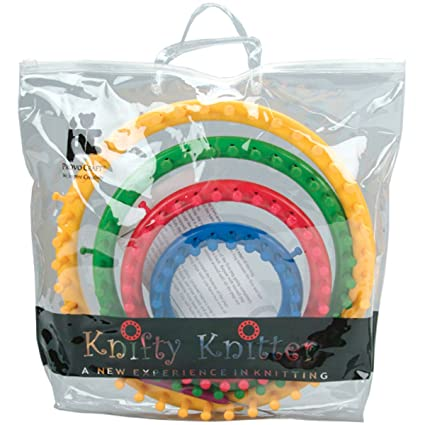 Amazon Genuine Knifty Knitter Round Loom Set With 4 Looms Hook