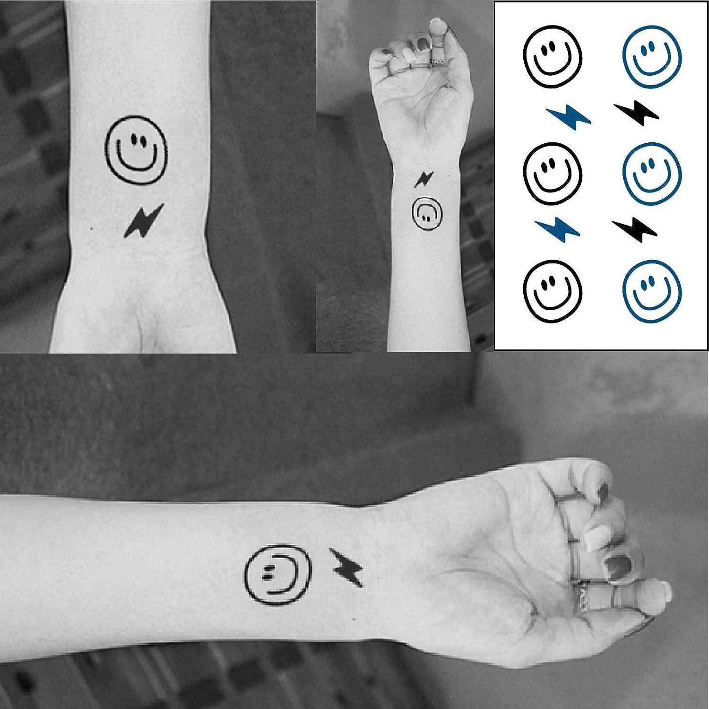 Pequeño rayo smiley impermeable tatuaje pegatina tatuaje pequeña ...