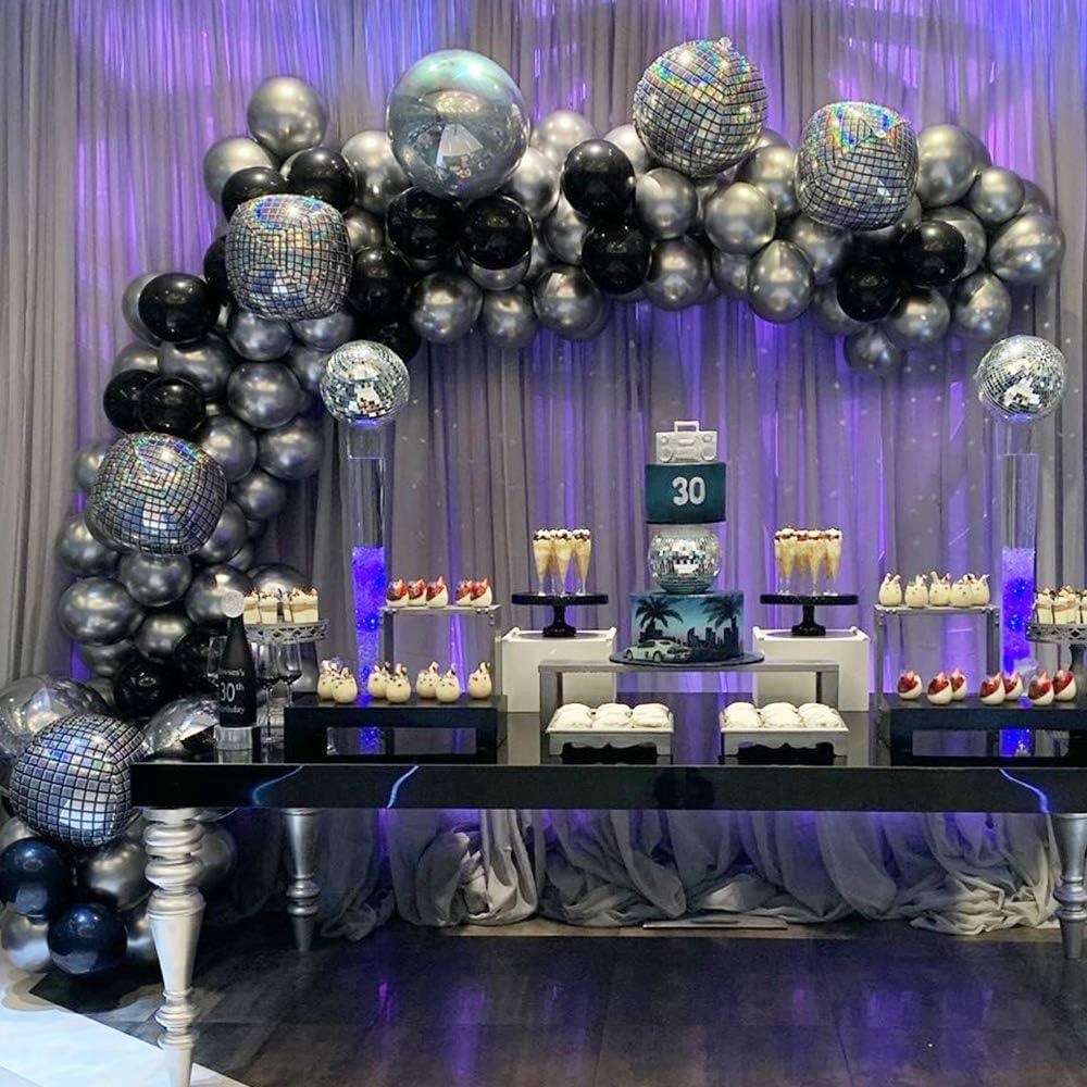 70Pcs Metallic Silver Birthday Ballon Garland Arch Kit Pastel Black Latex Engagement Anniversary Party Decoration Balloons
