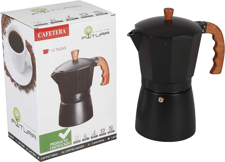 Cafetera clásica aluminio marrón/negro con asa imitando madera 12 ...